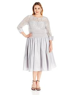 Jessica Howard Womens Plus Size Lace Bodice Midi Dress Silver 14W * Check out the image by visiting the link.