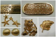 Gold Destash Lot of 5 Gold Tone Pieces Leaf Brooch by Beadgarden55