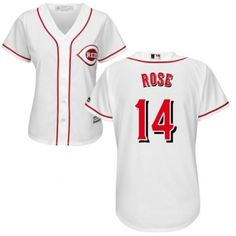 ed23ef82 Womens Authentic Home White Cincinnati Reds Pete Rose Jersey Cool Base MLB  Majestic