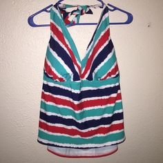 Tankini swim suit top Multi Colored Tankini Top. Halter, tie back. Built in bra. Swim Bikinis