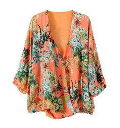 Floral Print Chiffon V-Neck Casual Style Nine Minute Sleeves
