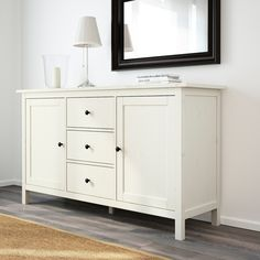IKEA - HEMNES, Sideboard, white stain, Solid wood has a natural feel. Different wall materials require different types of fasteners. Use fasteners suitable for the walls in your home. Coordinates with other furniture in the HEMNES series. Ikea Buffet, White Sideboard Buffet, Sideboard Decor, Dining Room Sideboard, Buffet Tables, Kitchen Buffet Cabinet, Ikea Dining Room, Ikea Kitchen, Kitchen Cart