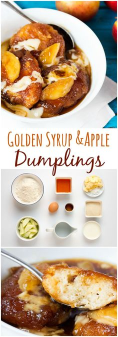 Golden Syrup Dumplings with syrup-poached apples. So easy and delicious! Golden Syrup Dumplings, Apple Dumplings, Dumpling Recipe, Apple Recipes, Sweet Recipes, Holiday Recipes, Syrup Recipes, Holiday Foods, Winter Recipes