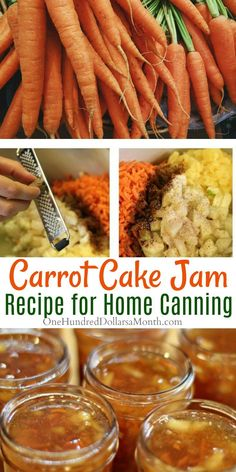 Canning 101 - Carrot Cake Jam Recipe - One Hundred Dollars a MonthYou can find Canning 101 and more on our website.Canning 101 - Carrot Cake Jam Recipe - One Hundre. Recipe For Carrot Cake Jam, Carrot Recipes, Jelly Recipes, Easy Jam Recipes, Recipes For Carrots, Homemade Jam Recipes, Homemade Liquor, Canning 101, Home Canning