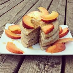 Ripped Recipes - Fluffy Zucchini Bread Pancakes With Peaches - Delicious protein-packed pancakes that sneak in a serving of veggies as well!