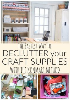 Organzing Craft Supplies with the Konmari Method The Easiest Way to Declutter your Craft Supplies wi Sewing Room Organization, Craft Room Storage, Organization Ideas, Craft Rooms, Organizing Tips, Organising, Storage Ideas, Cleaning Hacks, Craft Storage Solutions