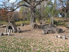 natural play area...love the little homes and woven crawling areas