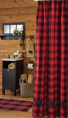 Buffalo Check Shower Curtain Cabin Homes Cabin Bathrooms