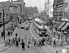 Haymarket looking towards Fitzalan Square, Construction of new F. Woolworth and Co., left, premises on right include No. Arthur Davy and Sons Ltd., Mikado Cafe and No. Weaver to Wearer Ltd. Sheffield Pubs, Sheffield Steel, Sheffield England, South Yorkshire, White Picture, Local History, Derbyshire, Great Shots, Old Photos