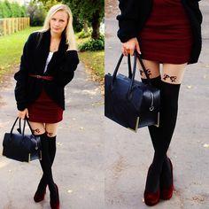 New Yorker Black Oversized Cardigan, H&M Burgundy Red Mini Skirt, H&M Black Bag, Foymall Bowknot Tights, H&M Burgundy Velvet Heels