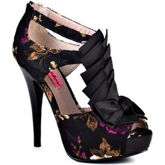 Betsey Johnson Women's Iconnn L - Black Multi - size 5.5 ($95) ❤ liked on Polyvore featuring shoes, pumps, heels, black multi, black floral pumps, high heel pumps, high heel platform pumps, platform pumps and peep toe platform pumps