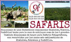 ¿Te gustaría hacer un safari...? ¡¡En Cuesta & Toledano disponemos de unos fantásticos campamentos (Zimbabwe, Namibia, Sudáfrica...) tanto para la caza de antílopes como de los 5 grandes.También ofrecemos tours para safaris fotográficos, con recorridos por las zonas más emblemáticas de Zimbabwe, Botswana y Sudáfrica. ¡¡Más información en www.cuestatoledano.com o llamando a alguno de nuestros teléfonos (696 939 286 / 629 026 313)!! #CuestayToledano #CazaMayor #Caza #Cacerías #Cinegética…