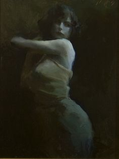 """""""Moonlight Dance"""" - Tony Pro {contemporary figurative artist beautiful female standing woman in shadows painting}"""