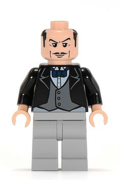 Alfred is a minifigure from the Batman theme. He was re-released a decade after his appearance in the Batman line in the DC Comics theme. Alfred has a Light Nougat head with a thin mustache, laugh lines, and side burns. His torso is coloured black and depicts a black jacket with a grey vest and dark blue bow-tie. His legs are coloured light grey. Alfred has no hairpiece.