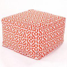 Aruba Bean Bag Ottoman - Orange (Lg) by Majestic Home Goods
