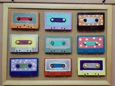 diy painted old cassettes wall decor
