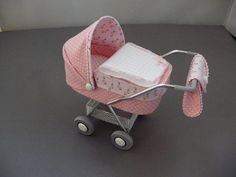 1/12th scale modern Pink spot with Jemima Puddleduck,  pram, buggy, stroller, baby carriage hand crafted miniature
