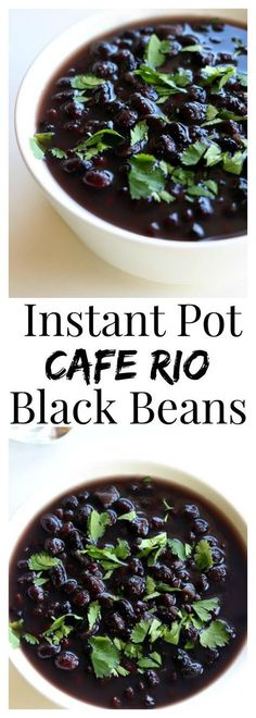Instant Pot Cafe Rio Black Beans–from dried beans to cooked and seasoned in less than 45 minutes (no soaking required!). These black beans will be a hit at your next Mexican dinner.