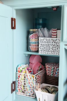 Keep an area for entertaining/party items. Paper plates, liners, etc.