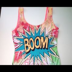 Boom Comic Body Suit The most adorable and unique body suit. Stretchy and has two button closure at the bottom. Feel free to make an offer via offer button only.  •No Trades•  Interested in FREE SHIPPING? Visit my Instagram for more info: @jacklagposh Boutique Tops