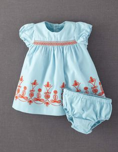 Embroidered Dress - mini Boden Skip skirt embroidery, just smocking, maybe applique the skirt w zigzag or rickrack