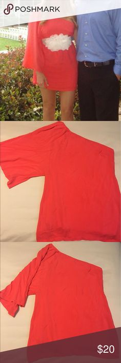 """Coral One Sleeve T-Shirt Dress Great to dress up with belts for a fitted look. For reference, I am 5'2"""" 32C, 115lb. Audrey 3+1 Dresses Mini"""