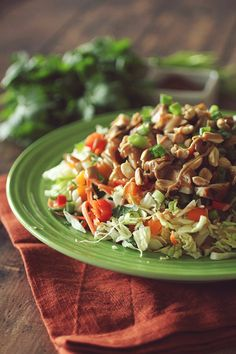 Thai Crunch Chicken Salad with Peanut Dressing Clean Eating, Peanut Free Option Included
