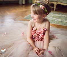 Flower girl dress Pink Champagne Dress Pink Champagne tutu