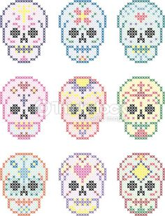day-of-the-dead-skulls-cross-stitch-set-vector-id475986382 (363×475)