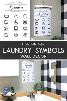 Free printable Laundry Symbols wall decor | Wall Decor for laundry rooms | Laundry room makeover | Farmhouse Laundry Room ideas | Free printables found on TodaysCreativeLife.com | Black & White Home Decor