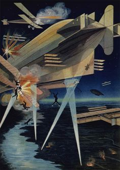 Aerial battle with airplanes and airships. Moscow, 1914 Publisher: Litografiia t-va I. D. Sytina