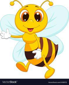 Illustration of Cute bee cartoon waving vector art, clipart and stock vectors. Cartoon Bee, Cute Cartoon, Bee Pictures, Bee Boxes, Cute Bee, Bee Art, Cute Illustration, Cartoon Drawings, Cartoon Faces