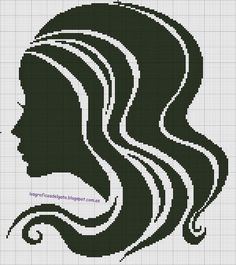 0 point de croix silhouette femme cheveux longs - cross stitch silhouette girl with long hair
