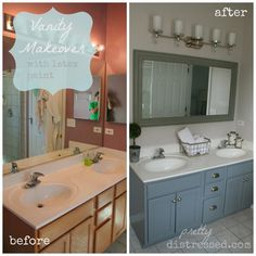 Painting Bathroom Cabinets Pretty Distressed: Bathroom Vanity Makeover With Latex Paint Distressed Bathroom Vanity, Bathroom Vanity Makeover, Cabinet Makeover, Bathroom Makeovers, Painting Bathroom Vanities, Redo Bathroom, Silver Bathroom, Wooden Bathroom, Vanity Bathroom