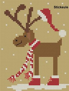 Stickeule: Ein Weihnachtselch Free reindeer pattern with basic colors Cross Stitch Christmas Ornaments, Xmas Cross Stitch, Cross Stitch Love, Cross Stitch Needles, Christmas Embroidery, Christmas Cross, Counted Cross Stitch Patterns, Cross Stitch Charts, Cross Stitch Designs