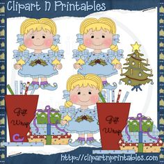Chubby Elf Girl Braids Blonde- #Clipart #ResellableClipart #Christmas #Presents #Gifts #Elf #Elves #Girls #WrappingPaper #Bows #ChristmasTree #Star #Decorations
