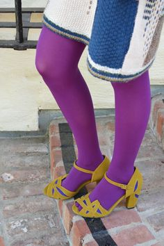 Tabbisocks Opaque Color Tights in Purple Colored Tights Outfit, Purple Tights, Coloured Tights, Wool Tights, Opaque Tights, Pantyhose Outfits, Pantyhose Heels, Conservative Outfits, Tights And Heels