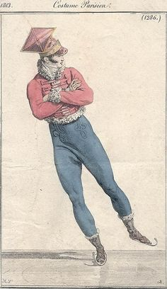 Costumes Parisien 1813 Man ice skating. I like ice skating and I like him in his outfit.