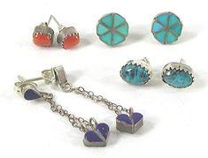 lot of 4 Pair post earrings American Indian Names, Native American Indians, Vintage Earrings, Vintage Jewelry, Vintage Shops, Vintage Items, Indian Arts And Crafts, Indian Interiors, Native American Earrings