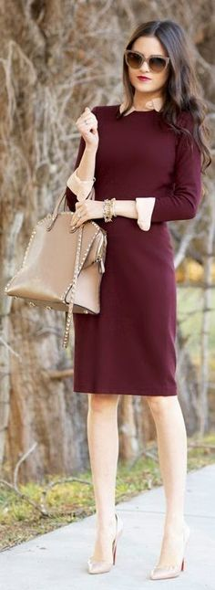 Women's fashion | Burgundy dress, neutral accessories