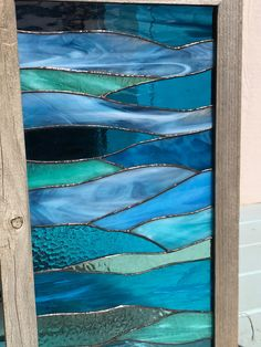 Ocean Waves of Serenity Stained Glass by CambriaBella on Etsy Stained Glass Birds, Stained Glass Designs, Stained Glass Panels, Stained Glass Projects, Stained Glass Patterns, Leaded Glass, Fused Glass, L'art Du Vitrail, Verre Design