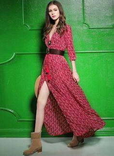 Polyester Květinový Krátký rukáv Maxi Klasický Šaty