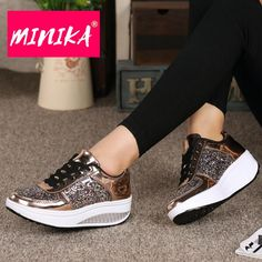 MINIKA Women Comfortable Platform Sneakers – TunLov Platform Sneakers, High Top Sneakers, Magical Quotes, Gymnastics, Brownies, Fashion Dresses, Lace Up, Slip On, Bling