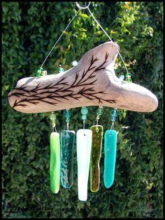 Beadworx - Driftwood and Glass Mini Wind Chime - Laguna Beach