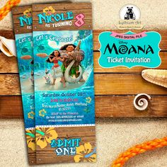 Moana Ticket Invitation - Moana Birthday Party - Disney Moana - Moana Printables…