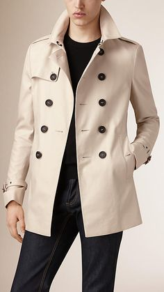 Burberry Stone Cotton Gabardine Trench Coat -  A closely cut design, the trench coat features set-in sleeves, a belted waist and narrow button closure. Heritage details include epaulettes, storm shield and belted cuffs.  Discover the men's outerwear collection at Burberry.com