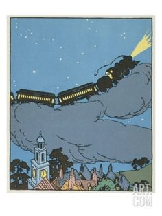Illustration of a Train on a Cloud by Gertrude Kay Giclee Print at Art.com