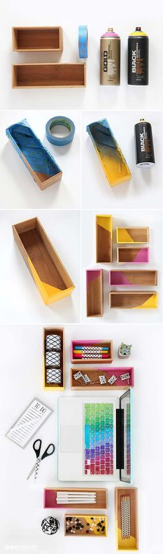 DIY Color Block Box Supplies Storage