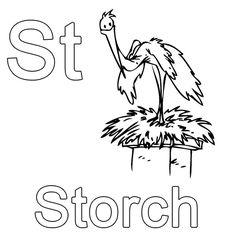 Ausmalbild Buchstaben Lernen: Kostenlose Malvorlage: St Wie Storch  Kostenlos Ausdrucken