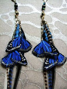 Feather Earrings w Blue Butterfly Wings, Chains, Beads Long Blue  #feather #earring http://www.loveitsomuch.com/